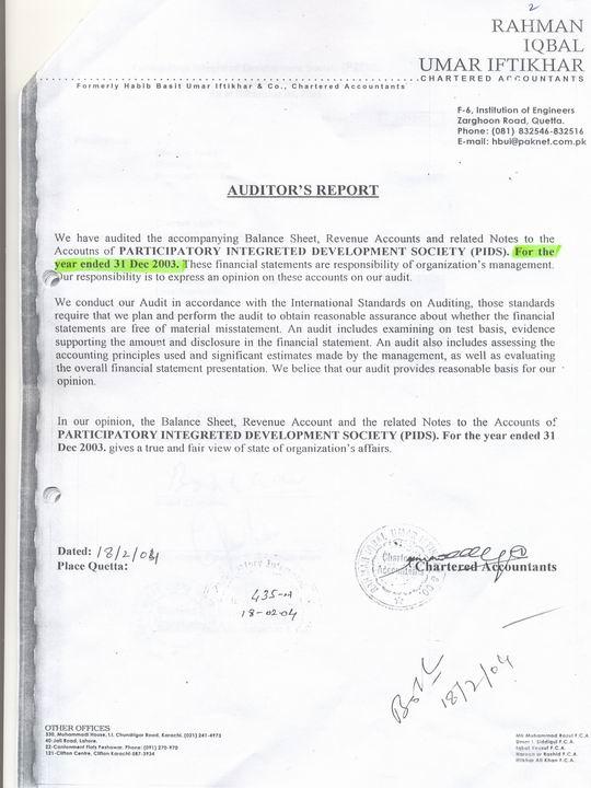 External Audit Report-2003
