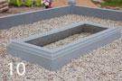 Gaiši pelēka betona kapu apmale