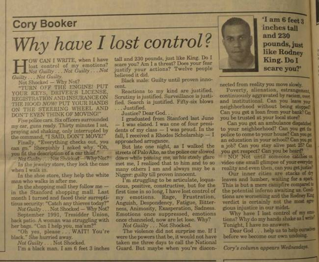Written by Senator Cory Booker--22 years ago. Progress?