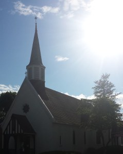 church with sun