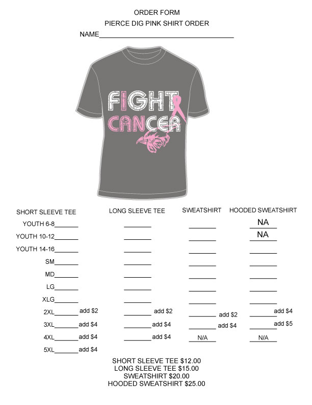 Pierce Public Schools - Volleyball Dig Pink Match T-Shirt Order form
