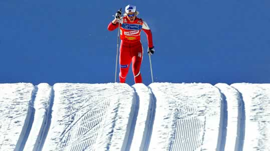 Norway's Vibeke Skofterud attacks an hill during a women's 4 x 5km double cross-country relay race at the Cross Country skiing World Cup in Lago di Tesero, northern Italy December 12, 2004.