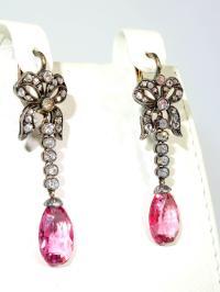 1860s Antique pink spinel diamond Silver Drop earrings