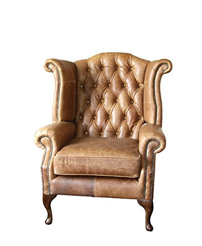 Handmade Chesterfield Queen Anne High Back Wing Chair In