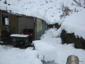 One of the big snow falls at the hut