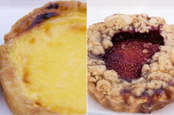 Custard Tart, Strawberry Crumble