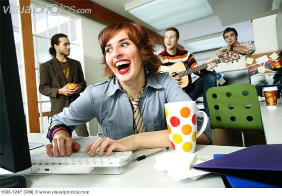 This is you reading all those links. Look how much fun you're having, with your crazy eyes and your unnecessary background guitar player. (image via visualphotos.com)