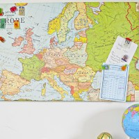 Upcycled Map Magnetic Board & Pins