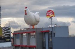 One of Bounty Fresh's giant chicken installations located at EDSA-Magallanes (south bound) has brought smiles to motorists.