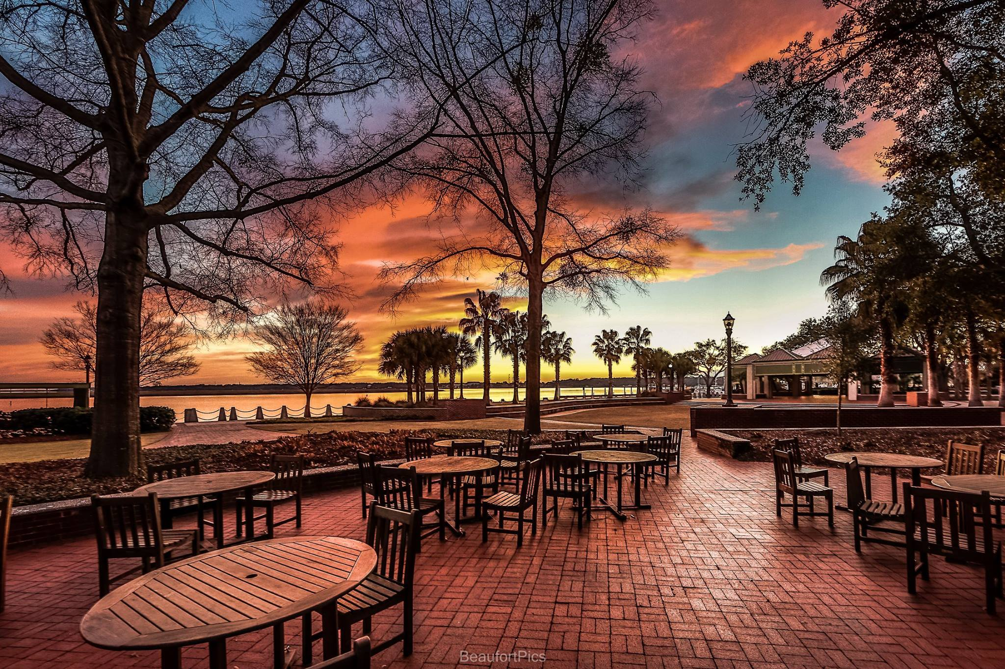 Bing Fall Desktop Wallpaper Beaufort Waterfront At Sunset