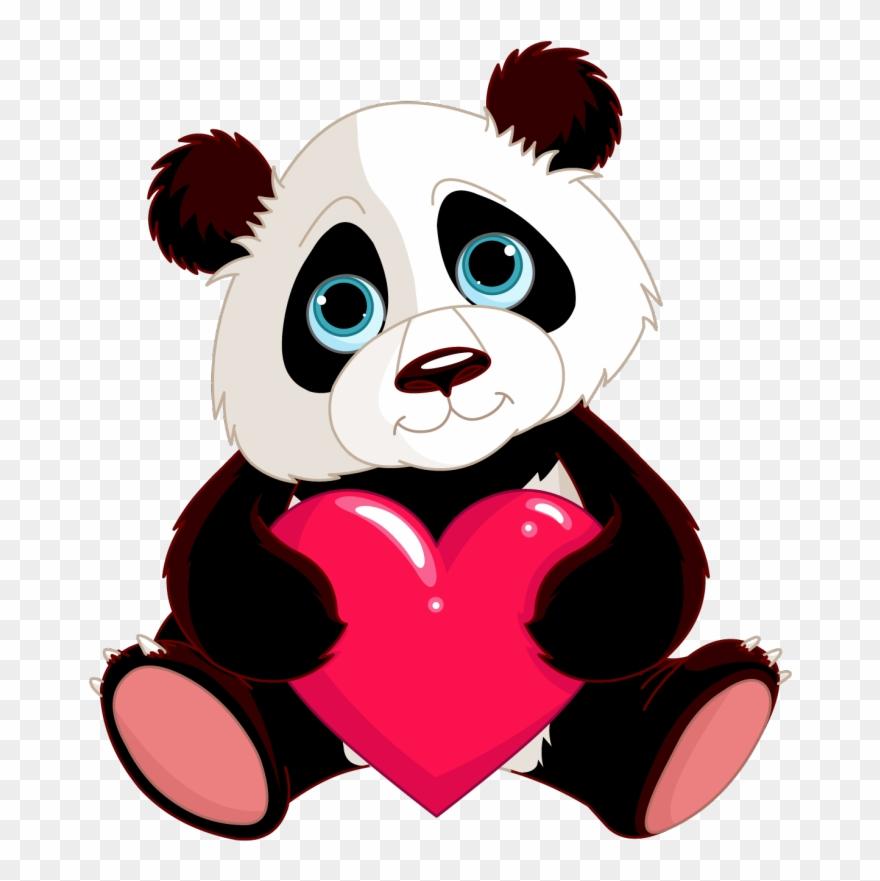 Baby Cute Panda Cartoons Clipart Giant Panda Bear Red - Panda Eating