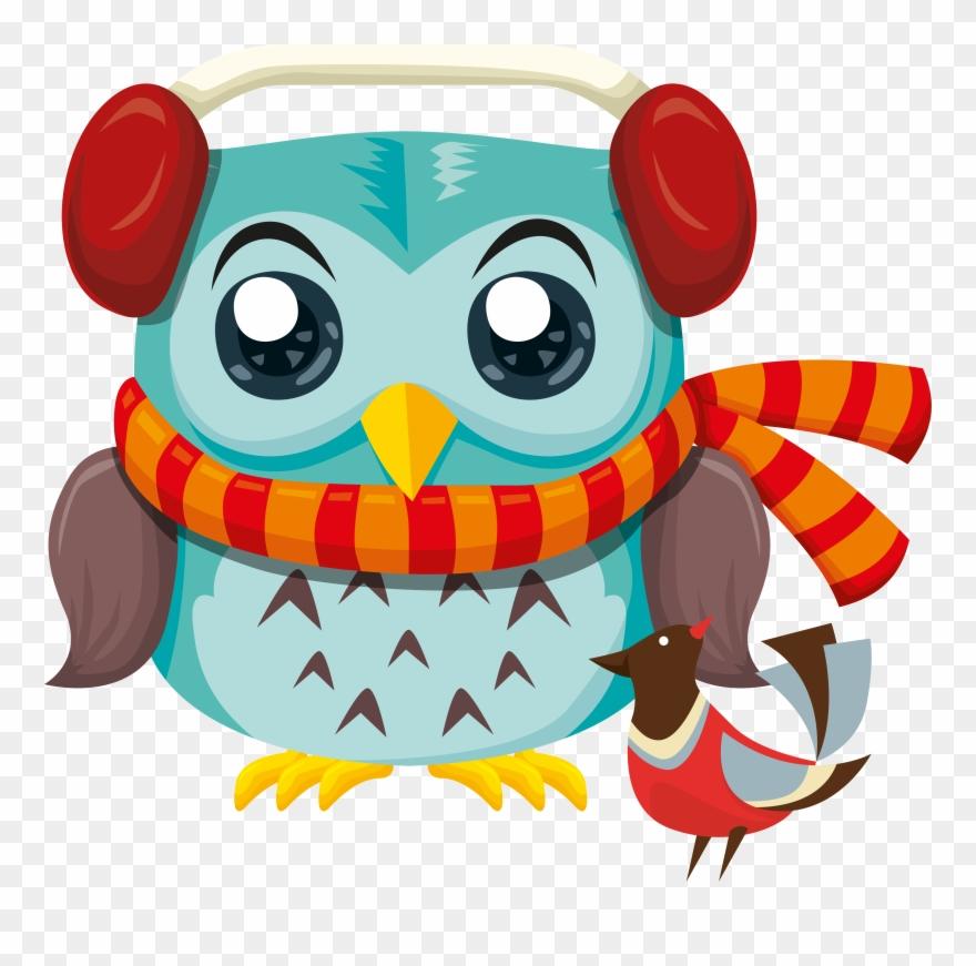 Free Printable Liledekahlan - Lovely Cartoon Blue Owl With Scarf