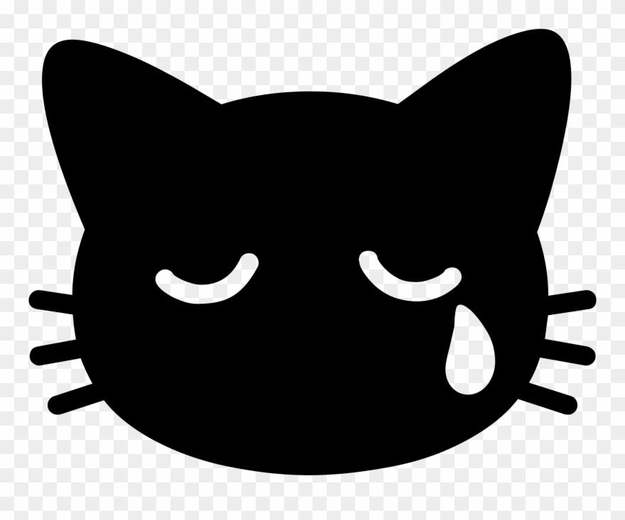 Android Emoji 1f63f - Cat Emoji Black And White Clipart (#1683266