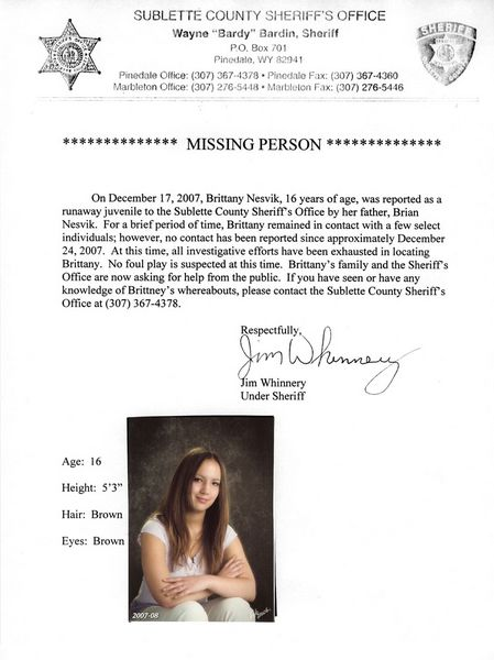 Missing Person Flyer - Pinedale Online News, Wyoming - missing person flyer