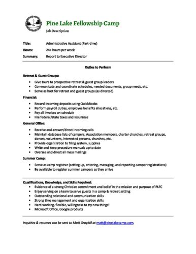 Job Description- Administrative Assistant - Pine Lake Fellowship Camp