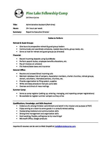 Job Description- Administrative Assistant - Pine Lake Fellowship Camp - administrative assistant description