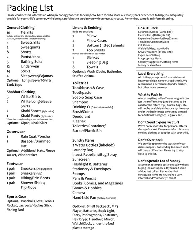 Packing List \u2013 Pinemere Camp - packing list