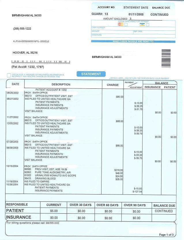 Patient Statement Pines Health Services - billing statement template