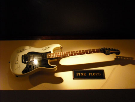 Taken in September 2009 this guitar is signed by Roger, David and Nick. With thanks to Chris & Chloe