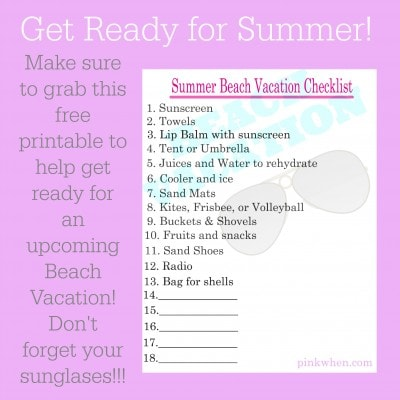 Summer Beach Vacation Free Printable Checklist Page 2 of 2 PinkWhen - summer vacation checklist