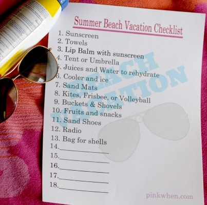 Summer Beach Vacation Free Printable Checklist PinkWhen - summer vacation checklist