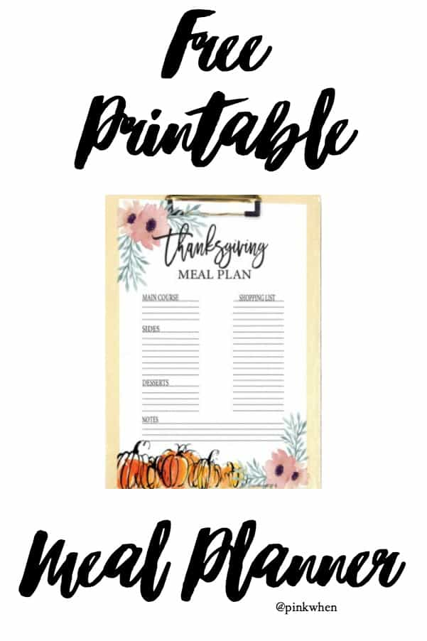 Clever and Easy Thanksgiving Menu Free Printable Plan - PinkWhen