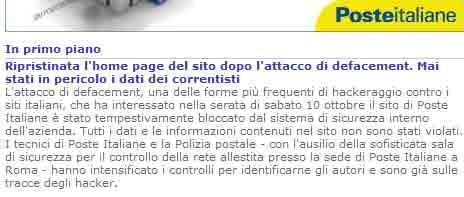 Il comunicato di Poste Italiane dopo l'attacco hacker
