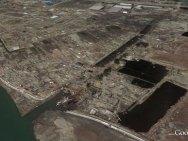 La regione di Sendai in una foto scattata dal satellite il 30 marzo 2011