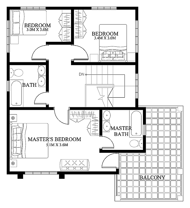 Modern house design 2012004 second floor pinoy eplans Floor plan design for small houses