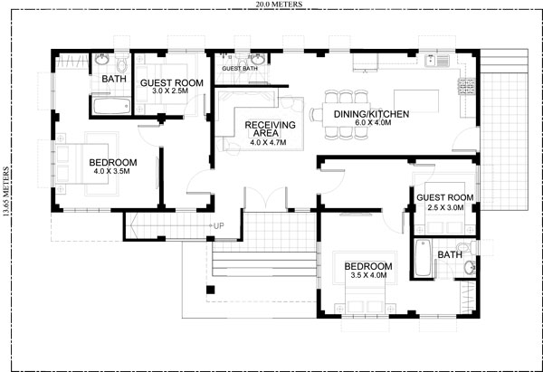 Rey four bedroom one storey with roof deck shd 2015021 for 2 bedroom ground floor plan