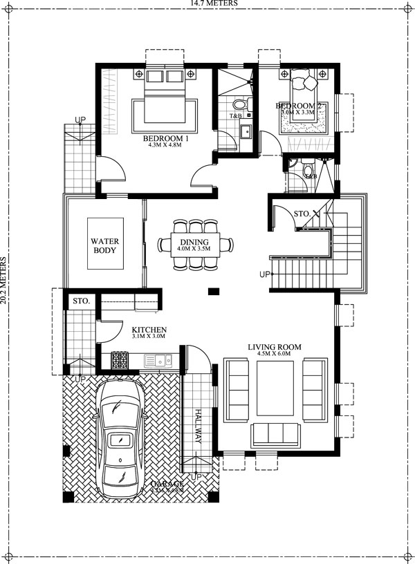 Amolo 5 bedroom house mhd 2016024 pinoy eplans for 2 bedroom ground floor plan
