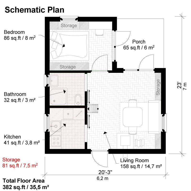 One Bedroom House Plans Peggy - one bedroom house plans