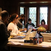 Students occupy the Manor House on Nov. 23. (John Rogers/Pioneer Log)
