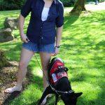 Katya Farinsky '19 takes her dog Lanie for a walk. Lanie wears her vest while providing service for Farinsky. MADELEINE BENTLEY/PIONEER LOG