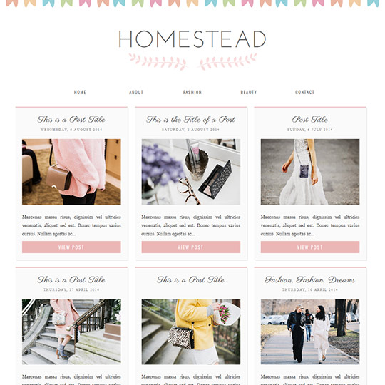 Blogger Template Homestead A cute, responsive grid layout - fashion blogger templates