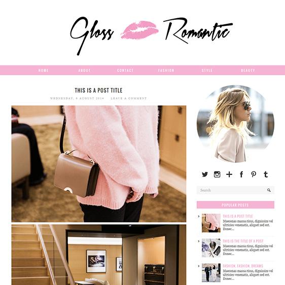 Pink Responsive Blogger Template - Gloss Romantic - free cute blogger templates