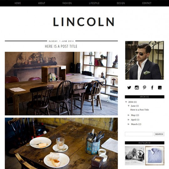 Minimal Blogger Template - Lincoln pipdig Blog Designs
