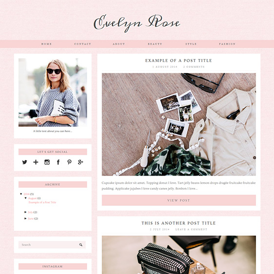 Evelyn Rose Pastel Pink Responsive Blogger Template - fashion blogger templates
