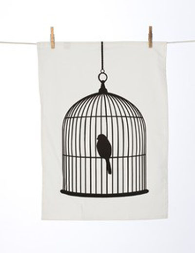 Birdcage-Tea-Towel, Rose &amp; Grey