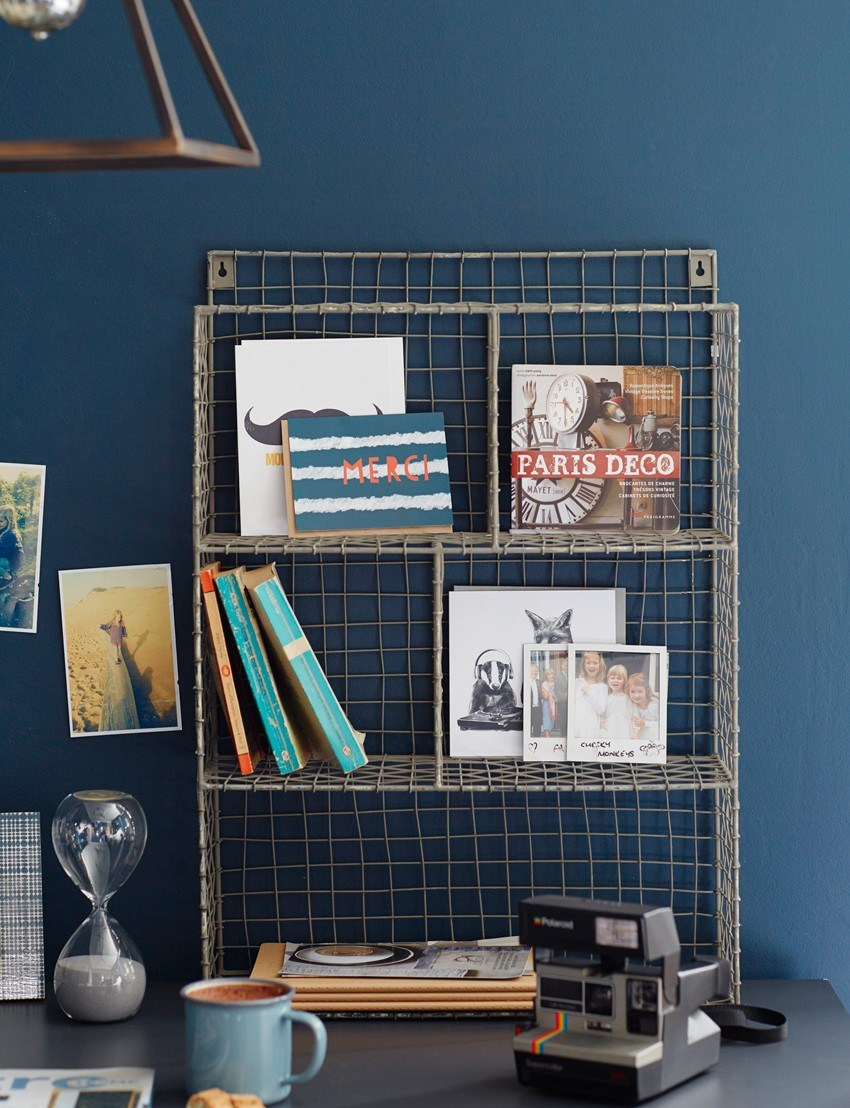 Homestyle Magazine, styled by Pippa Jameson, photographed by Brent Darby, reclaimed desk with blue walls and vintage furniture