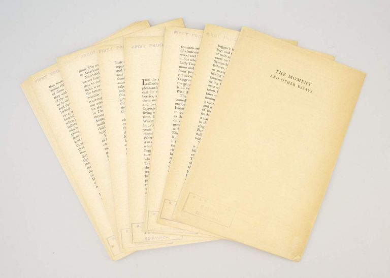 THE MOMENT AND OTHER ESSAYS VIRGINIA WOOLF FIRST PROOF OF THE
