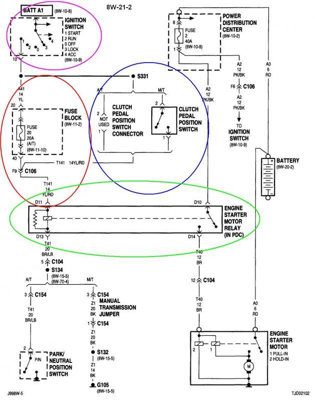 2005 jeep tj starter wiring diagram