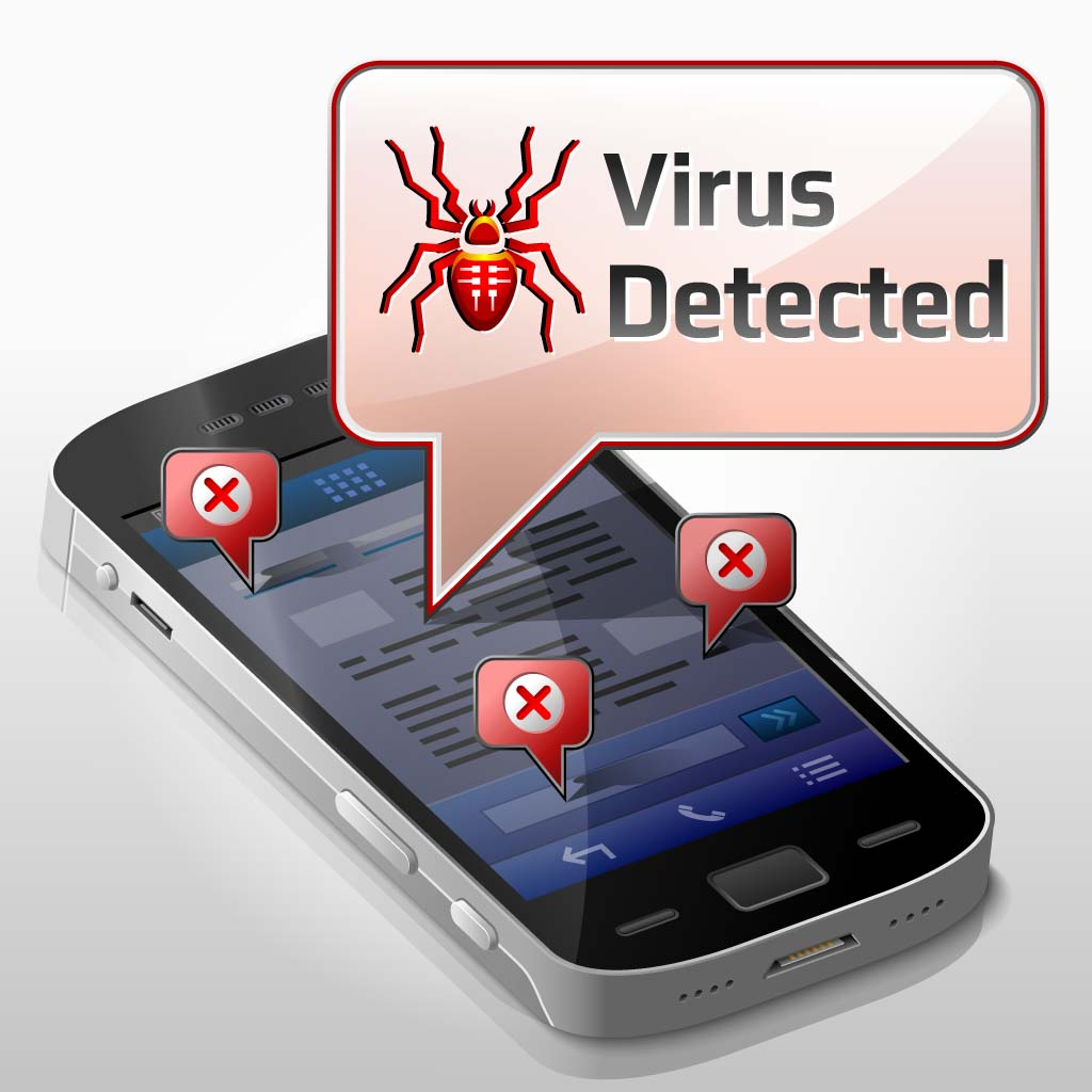 Your Mobile Phone Has a Bug: Illustration of a virus on a smartphone
