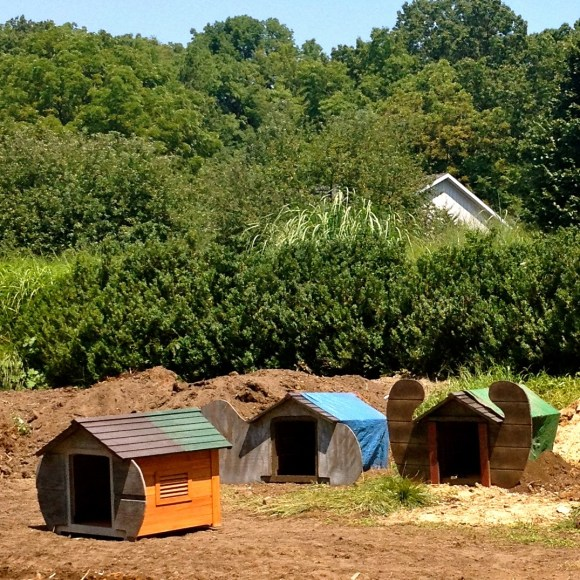 three hobbit houses ready to be installed in the garden fernwood