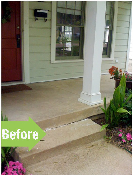 before and after porch stencil painting