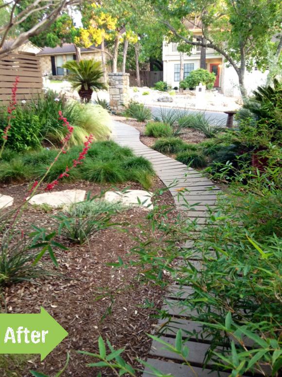 after, path, front yard, landscape, makeover