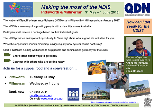 Making the Most of the NDIS Pittsworth and Millmerran May-June 2016