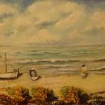 122 - marina e barche sulla spiaggia 50 x 70