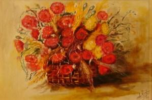 191 - fiori rosse con spighe 35 x 50