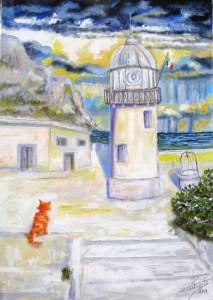 348 - Faro e gatto rosso 35x50